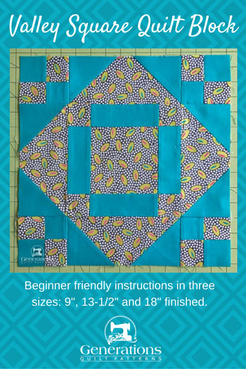 Pin the Valley Square quilt block instructions for later
