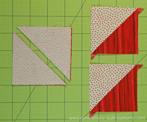 Cut the sewn pairs in half along the drawn line