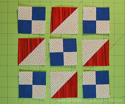 Arrange the patches into rows
