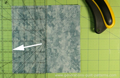 Cut the sewn #1/#2 in half using the midpoint measurement.