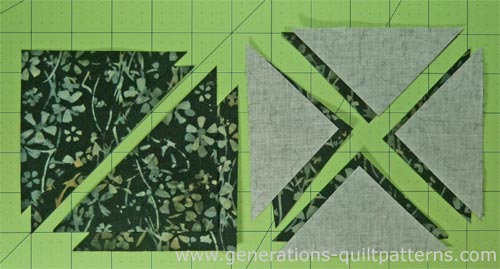 The cut patches for the Whirlwind quilt block